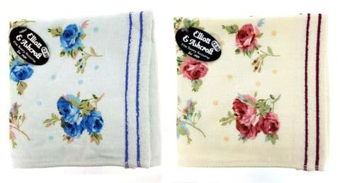 Elliot and Ashcroft - Twin Pack Floral Design Soft Cotton Face Cloth Flannel